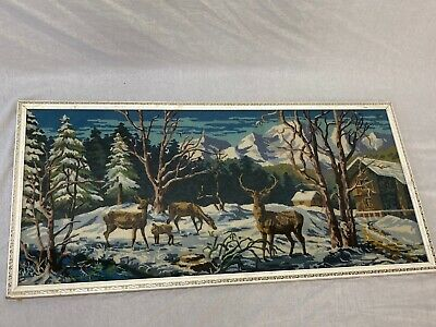Antique Style Handmade Swiss Mountain Scene Red Deer Timber Chalet Tapestry