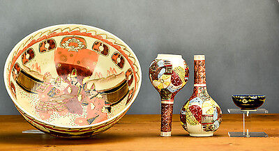 Lovely SET! 19/20C Japanese Porcelain Kutani Bottle Vase Bowls Figures Warriors