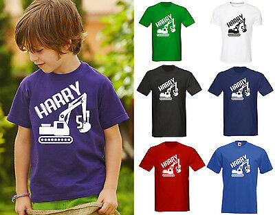 Personalised Kids Digger T-Shirt - Any Name / Age Birthday Gift Builder Boys
