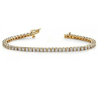 Special offer! 3ct Claw  Set Round Diamond Tennis Bracelet in  yellowGold