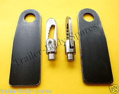 FREE P&P  2 of 12mm Weld-on Antiluce & XL Eye Plates Trailer
