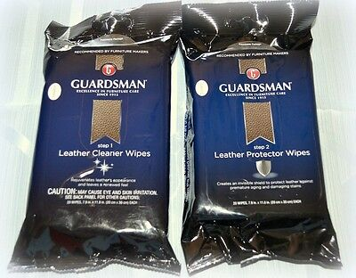 Lot 2 Pkg GUARDSMAN (1 each) Leather Cleaner and Protector Wipes 20 pkg Step 1&2