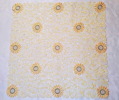 Vintage Floral Art Daisies Cut Embroidery Yellow Orange Green Square Tablecloth