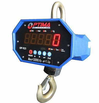 10,000 LBS x 2 LB Optima Hanging Digital LED Crane Scale With Battery & Remote