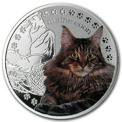 2014 Niue Proof Silver Man's Best Friends Cats Maine Coon - SKU #81721