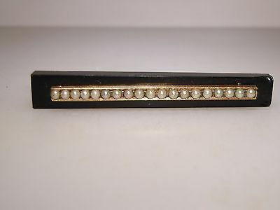 Victorian Black Onyx Glass Gold Filled Bar With Seed Pearl Mourning Pin!