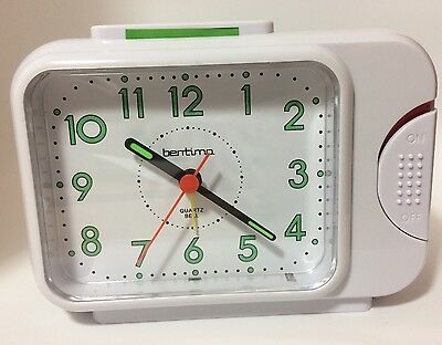 White Acctim Bentima Sonnet Bell Alarm Clock With Light And Snooze 12612