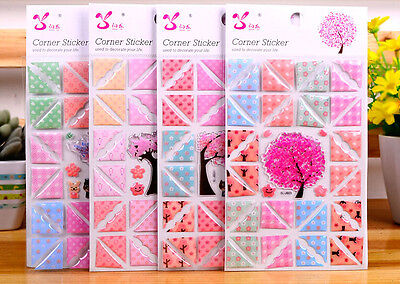 40 Pcs 2D Crystal  Colour reusable photo corners self adhesive craft picture