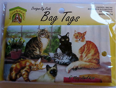 CATS Luggage Bag Tag Tabby Siamese Striped Silicone USA Suitcase Black New