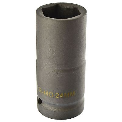 24mm Metric 3/4 Drive Double Deep Impact Socket 6 Sided Single Hex Thick Walle
