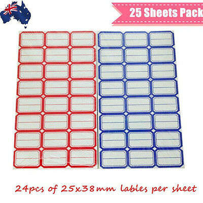 25 Sheets Adhesive Sticker Lable Tags 25x38mm Tag Blank 24pcs Per Sheet STAGS 25