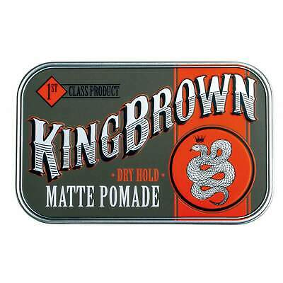 King Brown Matte Hair Pomade Wax Product Quiff Mens Rockabilly Tattoo Dry Hold