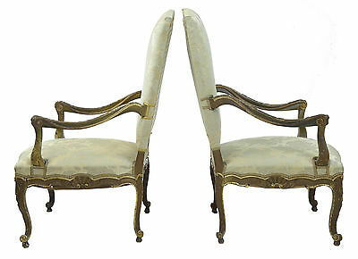 Pair Of 19Th Century French Carved Walnut Gilt Armchairs