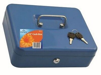 """Metal Cash Box 10"""" Complete With Coin Tray And 2 Keys"""