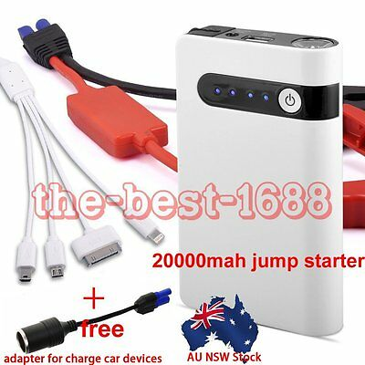 White Portable 20000mAh Car Jump Starter Booster USB Power Bank Battery Charger