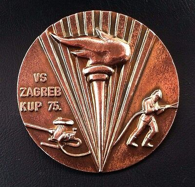 Croatia badge Firefighting  medal Yugoslavia SFRJ - VS Zagreb cup 1975 !