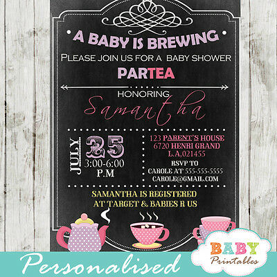 A Baby is Brewing Tea Baby Shower Invitation - Printable Digital File