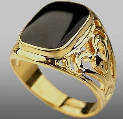 Yellow Gold Plated Black Onyx Pattern Mens Ring Boy Signet Pinky Band (K to Z+3)