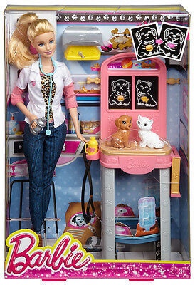 Barbie Careers Pet Vet Barbie Doll with Cat and Dog Playset  -NIB