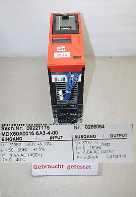 SEW MOVIDRIVE MDX60A00155A3400 Frequency Converter MDX60A0015-5A3-4-00 2, 8KVA