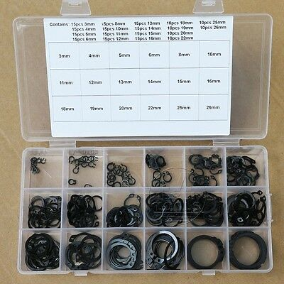 240Pcs 18 Kinds Steel External Circlip Retaining Ring Snap Ring Assortment Kit
