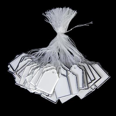 500pcs White Silver Label Tie String Strung Price Tags Jewelry Watch Display