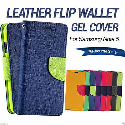 Flip Gel Leather Wallet Case Cover For Samsung Galaxy Note 5 AU