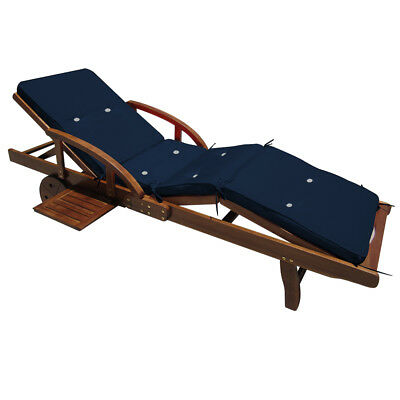 Sun Lounger Cushion Pad Cushions Loungers Seating Pads Blue Water Repellent