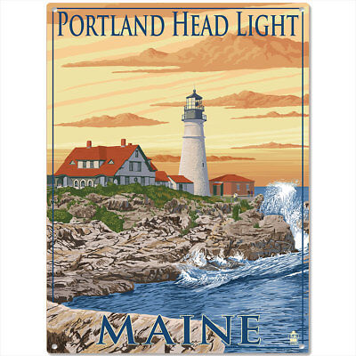 Portland Head Lighthouse Maine Metal Sign Vintage Style Travel Decor 12 x 16