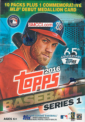 2016 Topps Baseball Series 1 Unopened Blaster Box Exclusive MLB Debut Medallion