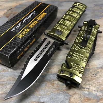 TAC FORCE Green Spring Assisted Open Sawback Bowie Tactical Pocket Knife!