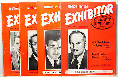 EXHIBITOR MOTION PICTURE MOVIE INDUSTRY TRADE MAGAZINE 4 pc. LOT 1950s - 1960s