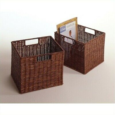 Winsome 2 Small Wired Baskets in Antique Walnut