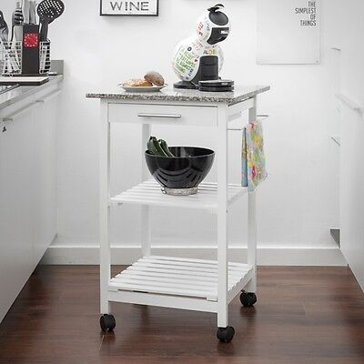 Wooden Kitchen Trolley & Granite Stone Food Drinks Bar Ware Furniture With Wheel