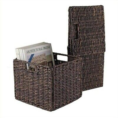 Winsome Granville Small Foldable Corn Husk Basket in Chocolate (Set of 2)