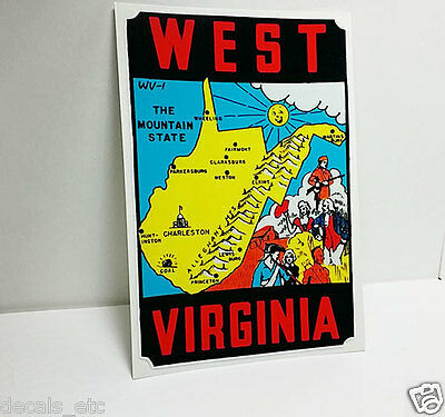 State of West Virginia Vintage Style Travel Decal / Vinyl Sticker, Luggage Label