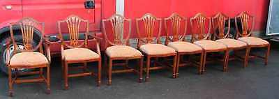 Set 8 Mahogany Chippendale style Dining Chairs pop out self stripe upholstery