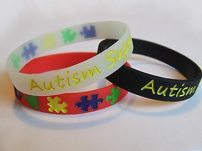 Support Autism Awareness Wristband RED BLACK GLOW in the DARK Silicone Bracelet