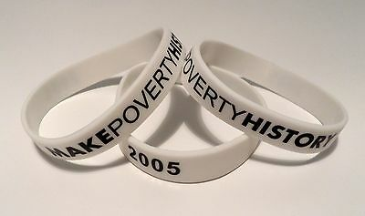 MAKE POVERTY HISTORY Charity Wrist band OXFAM white NEW Hunger Aids Earthquake p