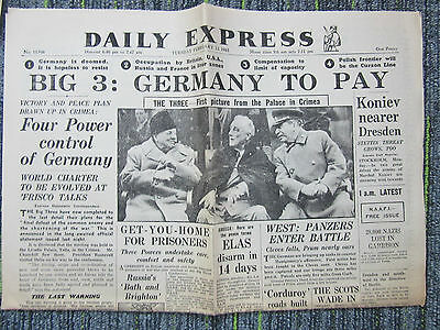 1945 March 13 Newspaper Daily Express Big 3:Germany To Pay WW2 Reprint