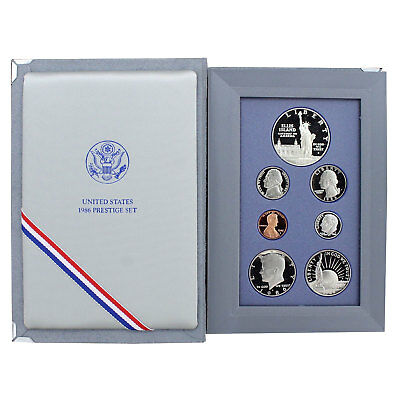 1986 S Prestige Proof Set Statue of Liberty 90% Silver Dollar 7 Coins