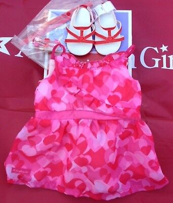 American Girl Red Hearts Ruffle Outfit NIB Valentine's Bracelet