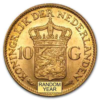 Netherlands 10 Gulden Gold Coin - Random Year - SKU #24015