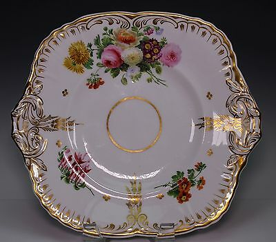 Hand Painted 19th Century English Porcelain Handled Plate Tray - GORGEOUS