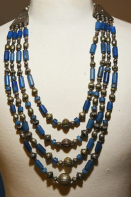 ANTIQUE beautiful Layered Necklace Blue Glass Beads Stainless Steel Clasp