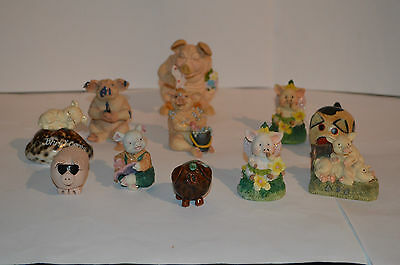 Collection Of Vintage Pottery And Wood Pigs