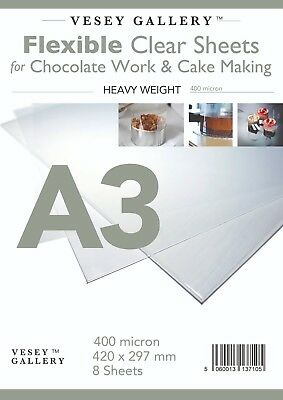 A3 Flexible Acetate for Chocolate Work and Cake Making. 8 Sheets 400micron
