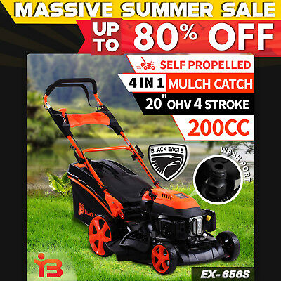 "NEW Black Eagle 20"" Lawn Mower Self Propelled Lawnmower 4 Stroke Petrol 200cc"