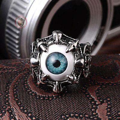 Blue Eyeball Ring Costume Jewellery Size 10