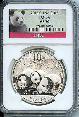 2013 China Panda 10 Yn NGC Panda Label MS70 Silver Coin C24